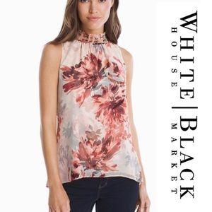 WHITE HOUSE BLACK MARKET Red Plum Floral Blouse